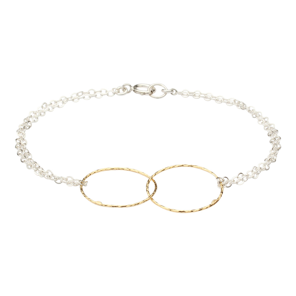 SALE - 2-Tone Double Diamond Cut Circles Bracelet