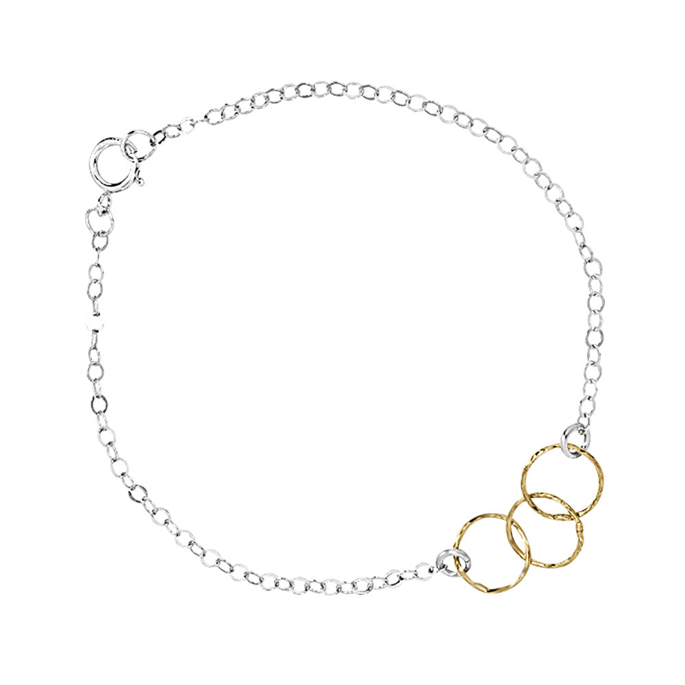 SALE - 2-Tone Tiny Triple Diamond Cut Circles Bracelet