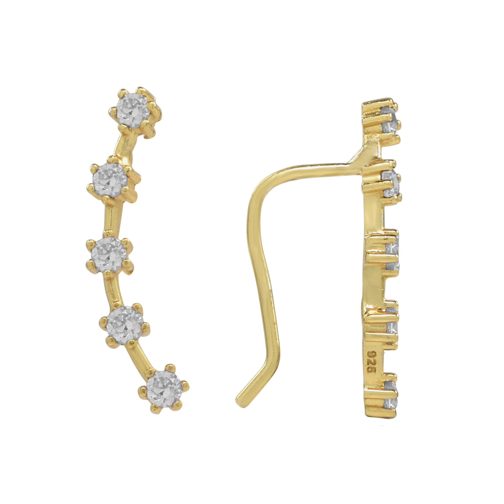 CZ Prong Ear Crawler in gold.