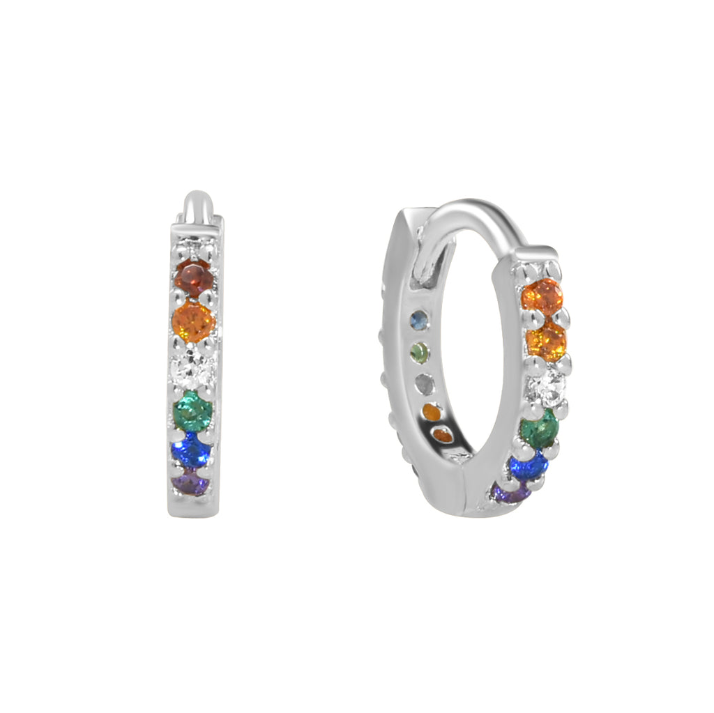 CZ Colorful Surface Prong Huggies