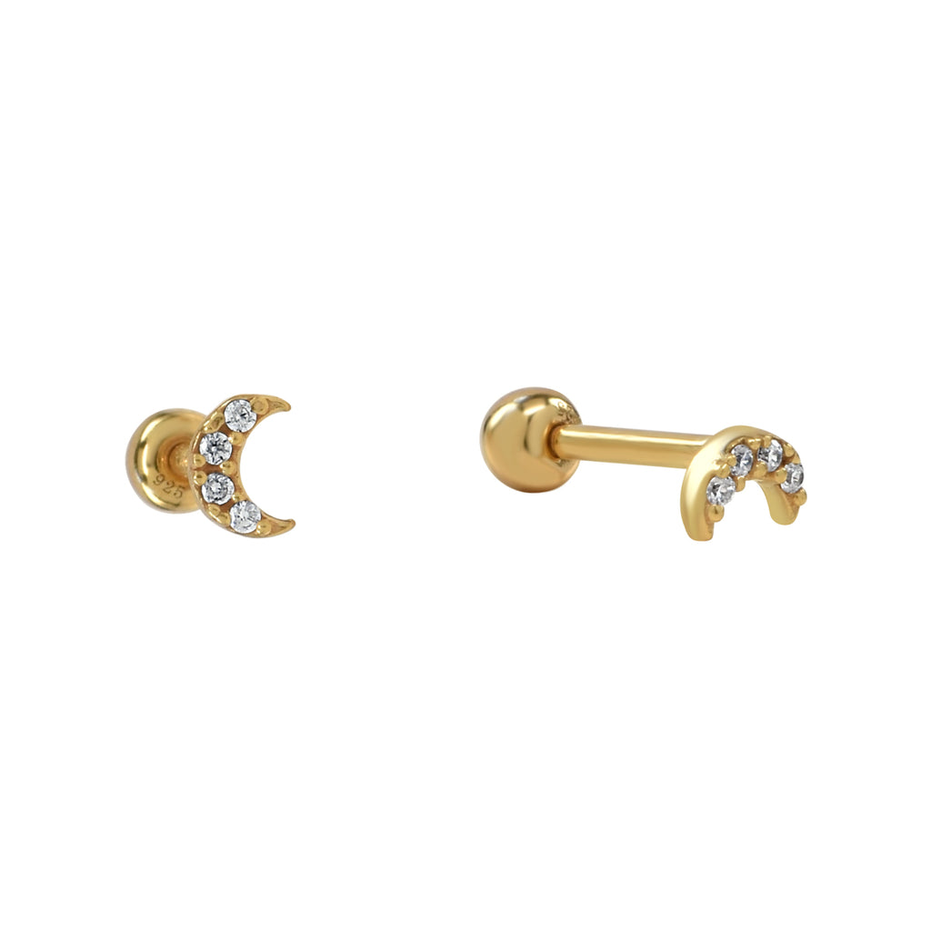 Mini CZ Half Moon Studs in Gold