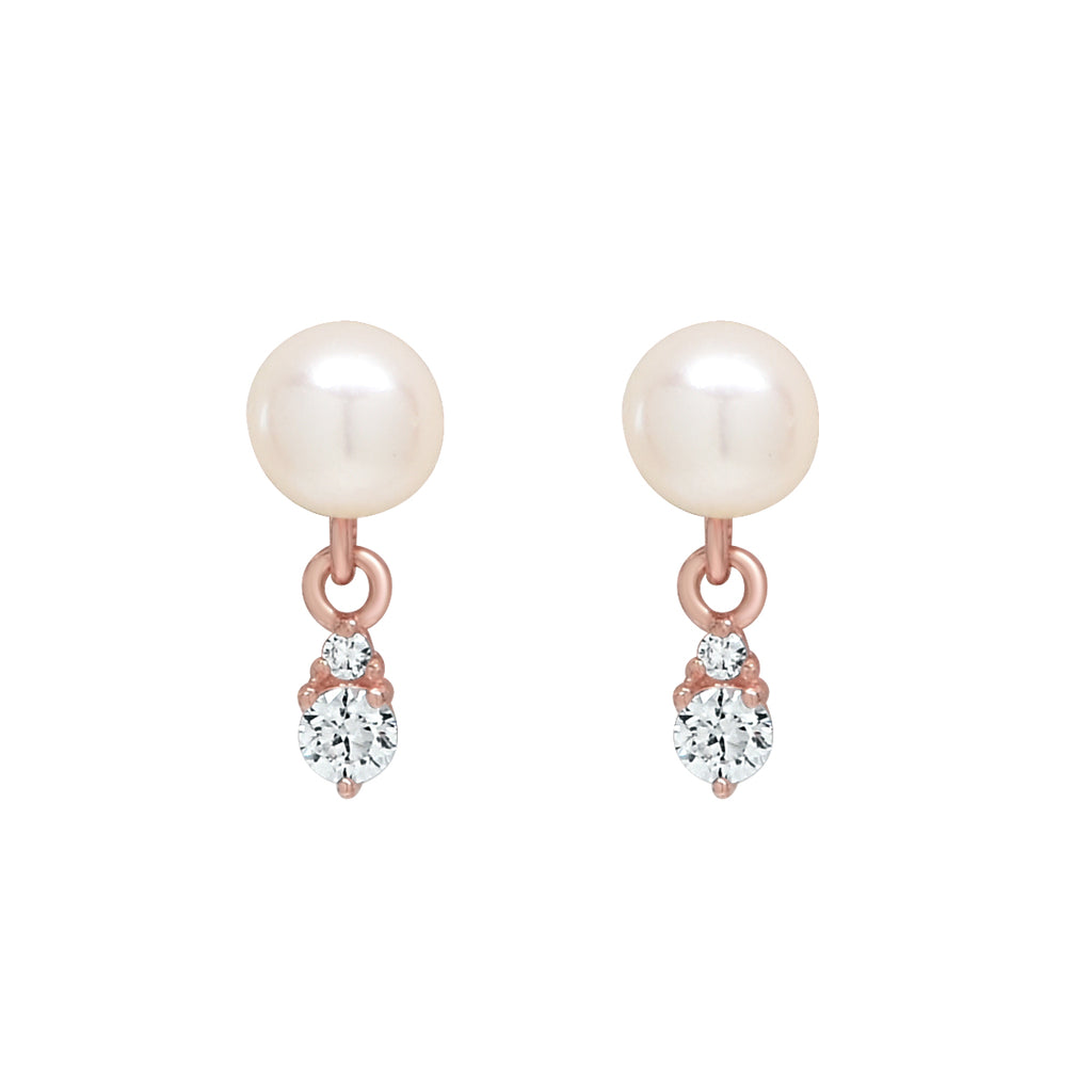 10k Solid Gold Pearl w/ Hanging CZ Studs