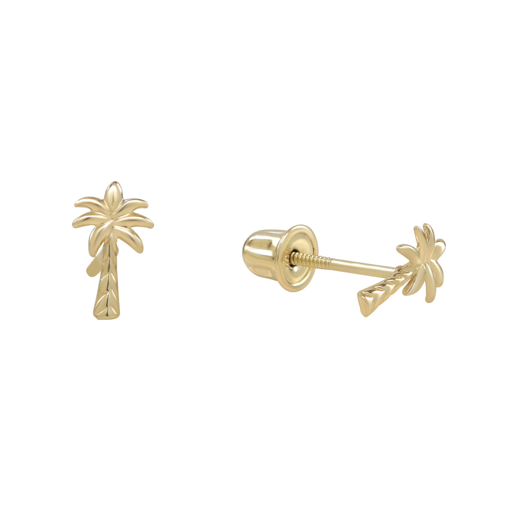 10k Solid Gold Palm Tree Studs in yellow gold.