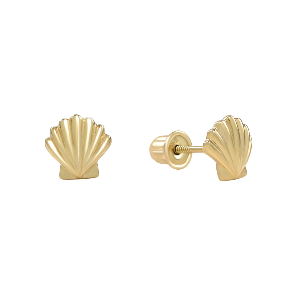 10k Solid Gold Seashell Studs in yellow gold.
