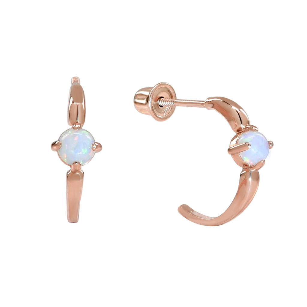 10k Solid Gold Opal Prong Huggie Studs