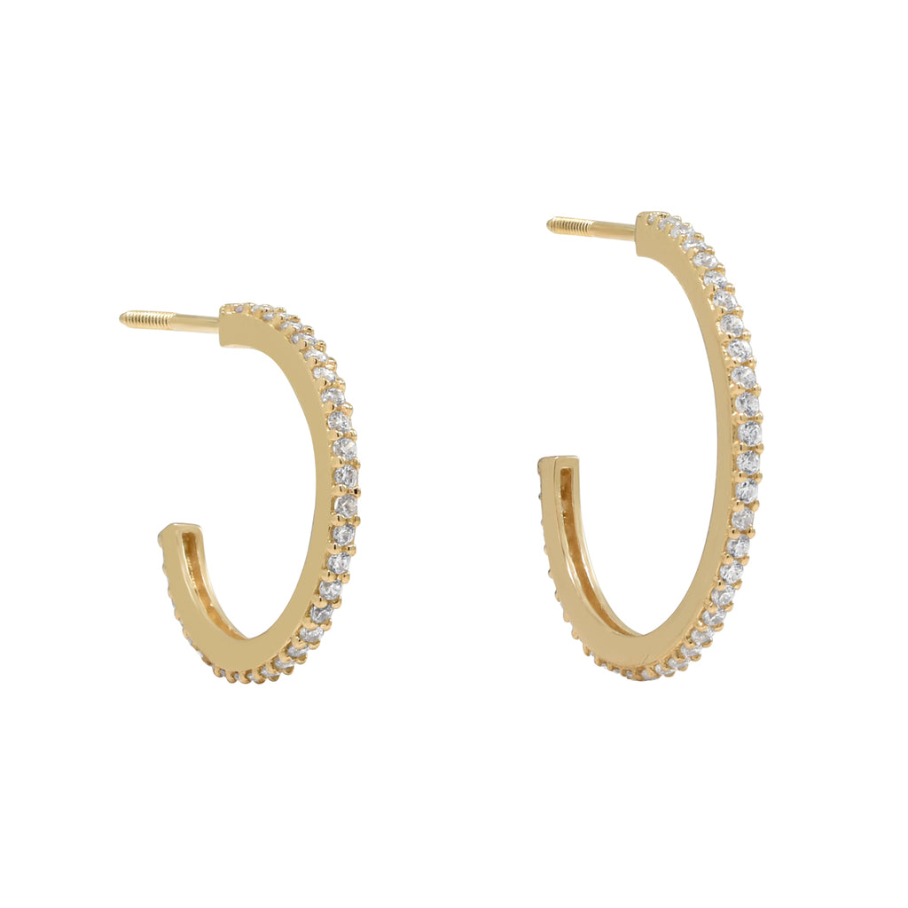 10k Solid Gold CZ Pave Hoop Studs