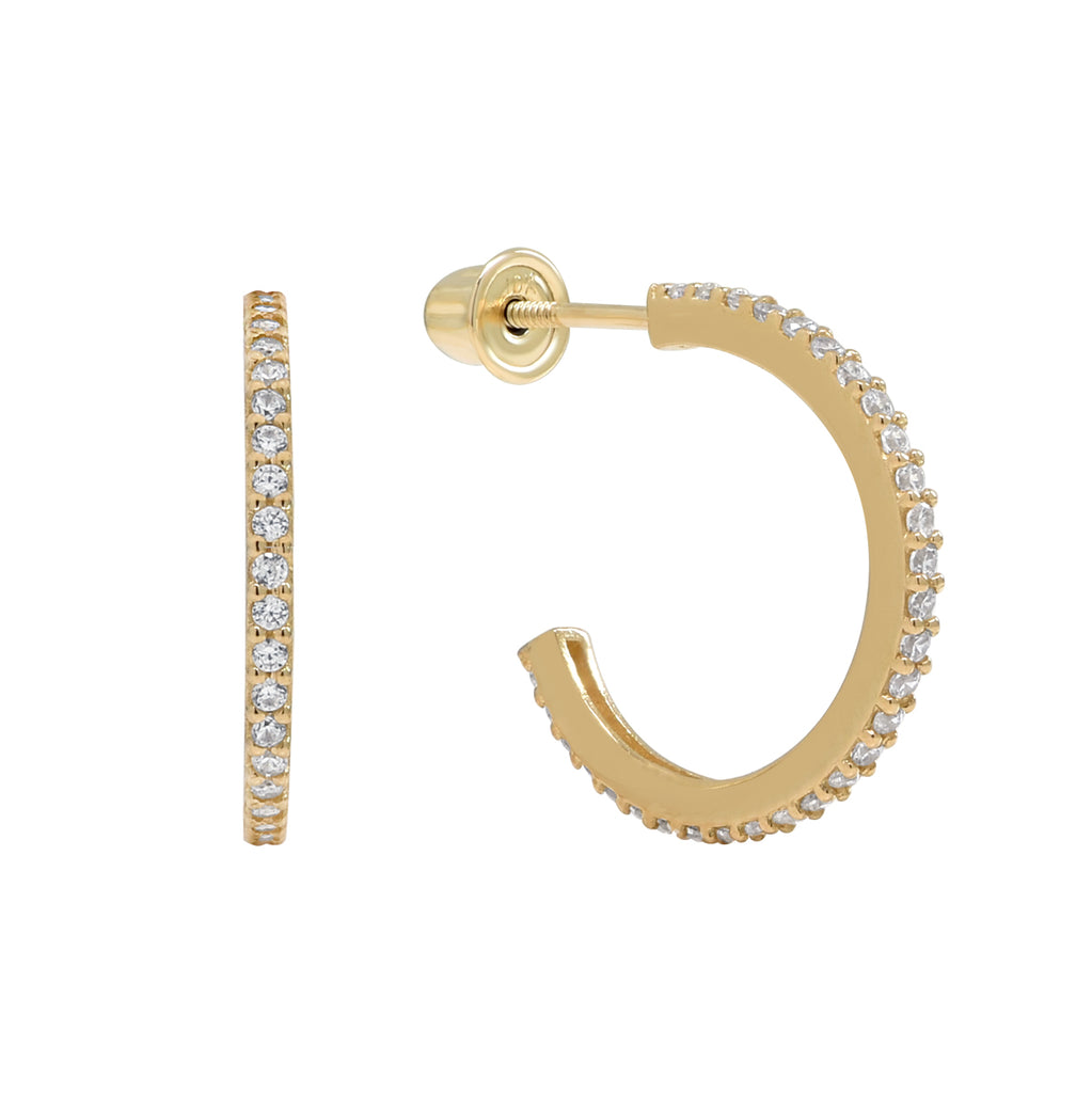10k Solid Gold CZ Huggie Studs with Screw Backing in Gold 11mm