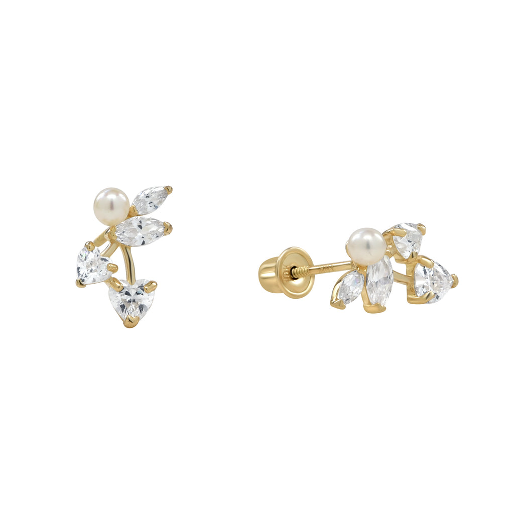 10k Solid Gold Pearl/ CZ Vine Studs in yellow gold.