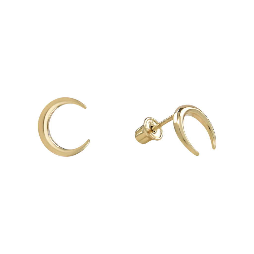 10k Solid Gold Crescent Horn Studs in Yellow Gold