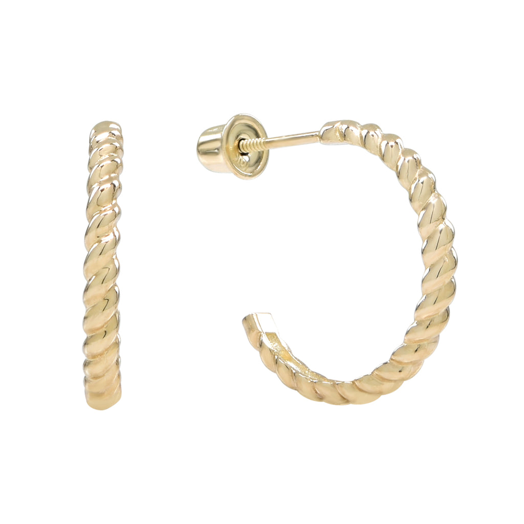 10k Solid Gold Twisted Hoop Studs in Yellow Gold