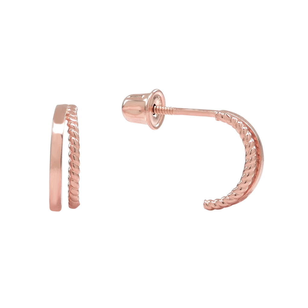 10k Solid Gold Double Line Textured Huggie Studs