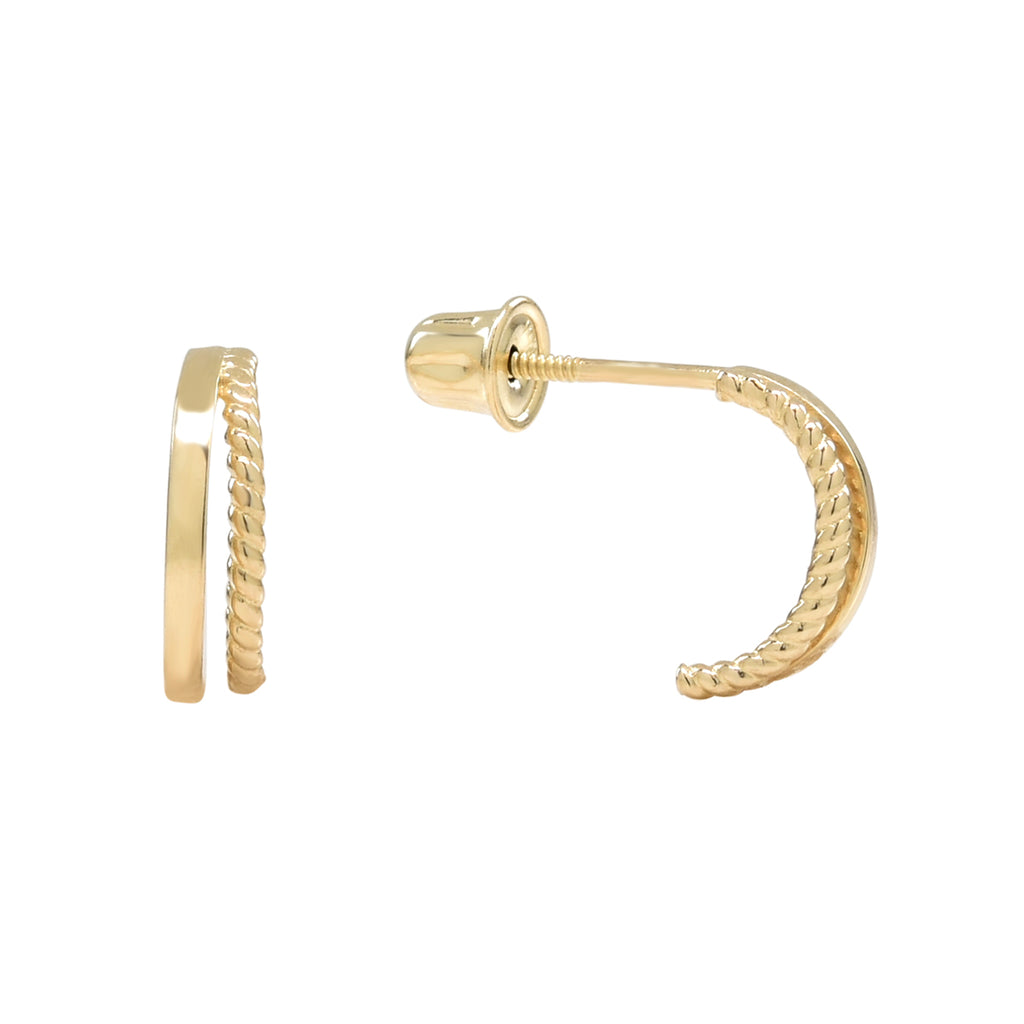 10k Solid Gold Double Line Textured Huggie Studs in Yellow Gold