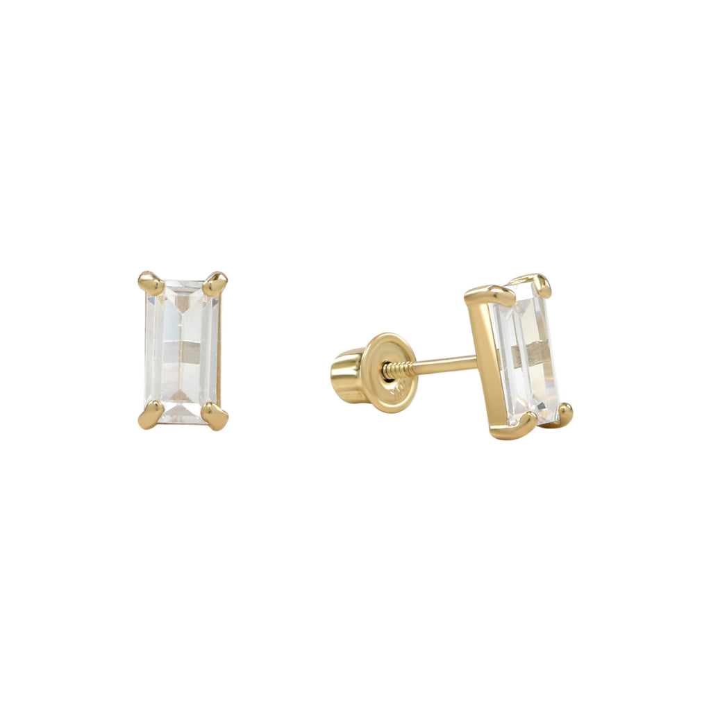 10k Solid Gold Emerald CZ Studs in Yellow Gold