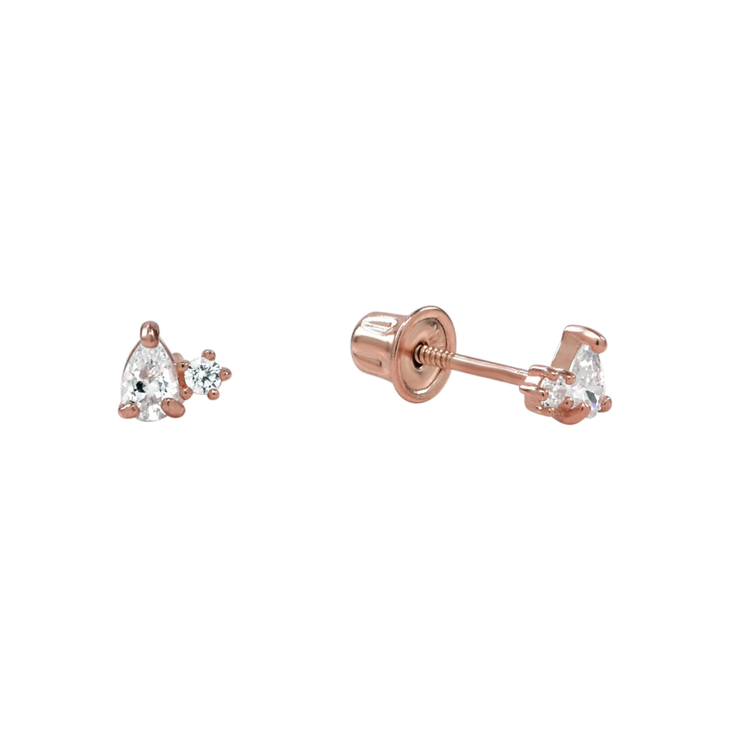 10k Solid Gold Tiny Round & Teardrop Cubic Zirconia Studs with screw backing in Rose Gold