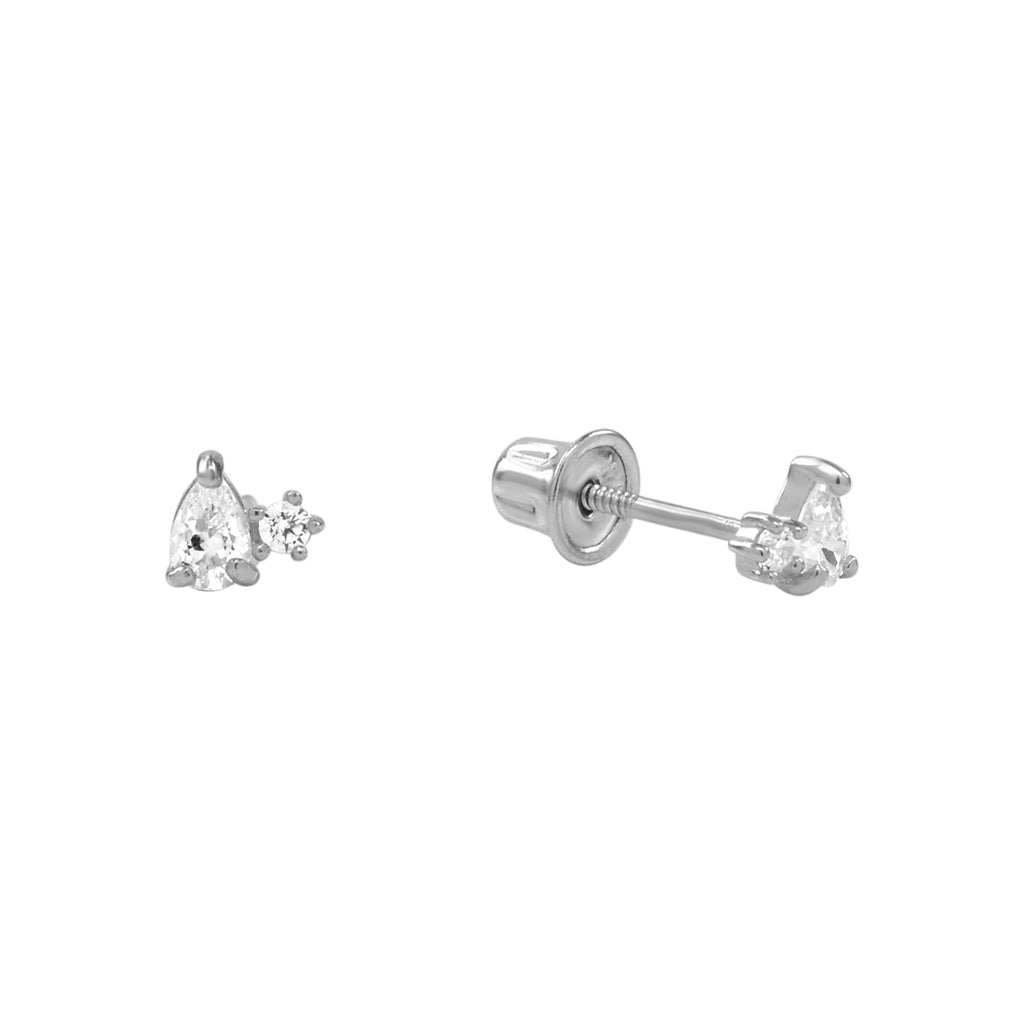 10k Solid Gold Tiny Round & Teardrop Cubic Zirconia Studs with screw backing in White Gold