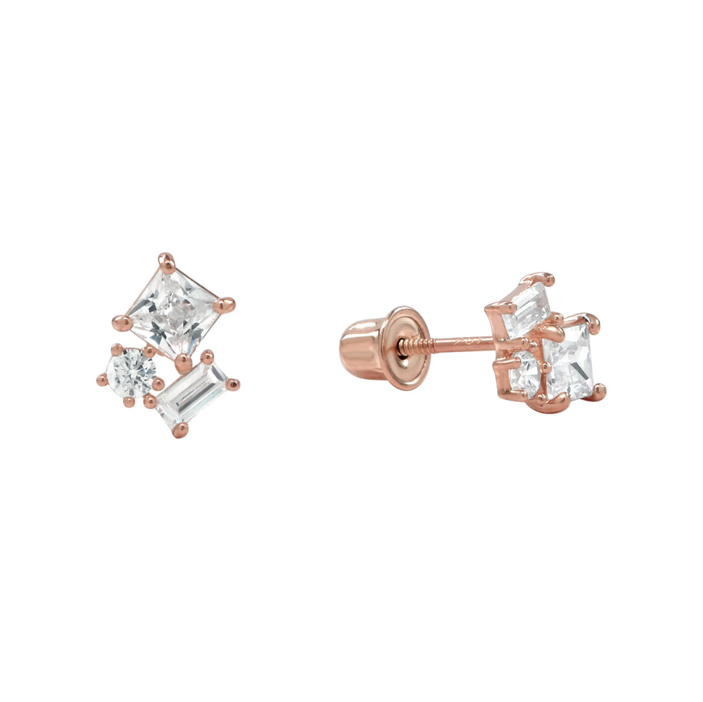 10k Solid Gold CZ Trio Cluster Studs with screw backing in Rose Gold