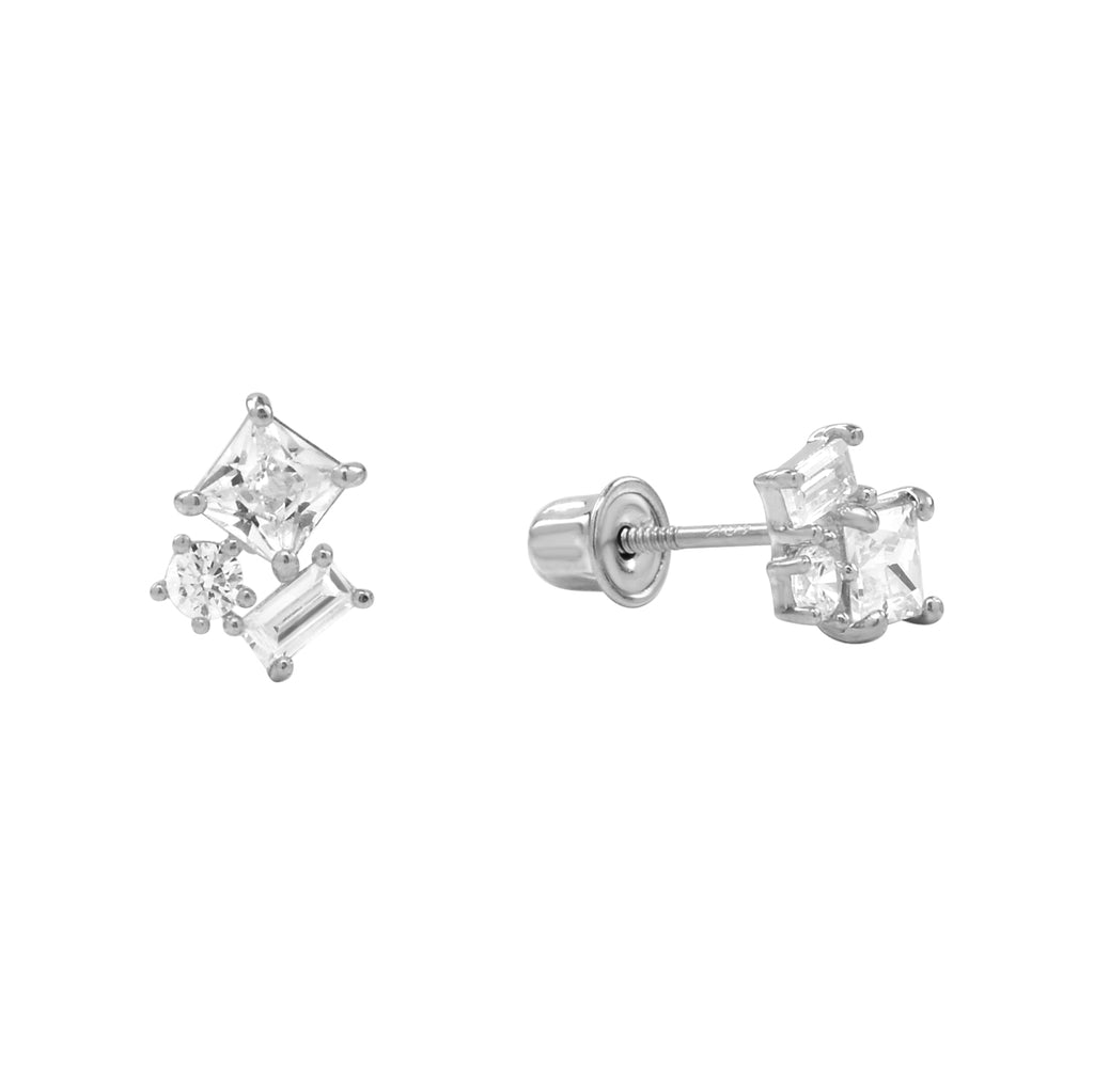 10k Solid Gold CZ Trio Cluster Studs with screw backing in White Gold
