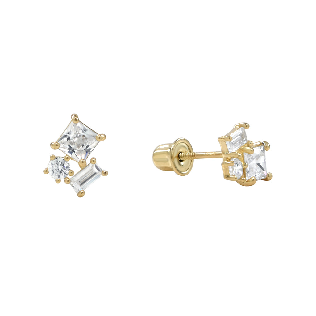 10k Solid Gold CZ Trio Cluster Studs with screw backing in Yellow Gold