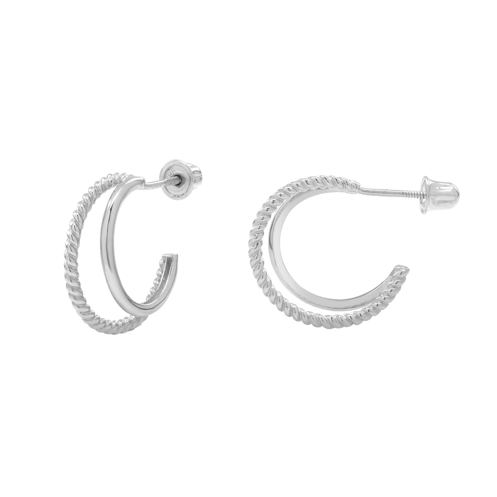 10k Solid White Gold Twisted & Smooth Double Huggie Hoop Studs