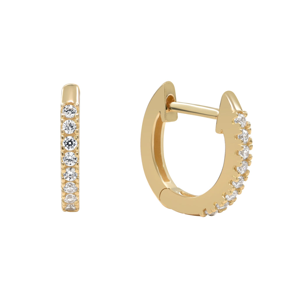 10k Solid Yellow Gold Pave Cubic Zirconia Huggie Hoops
