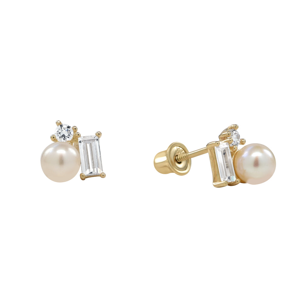 10k Solid Yellow Gold Pearl CZ Cluster Screw Backing Studs