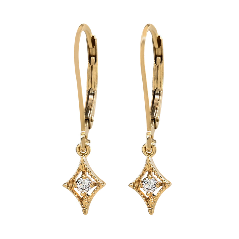 CZ Diamond Leverback Earrings