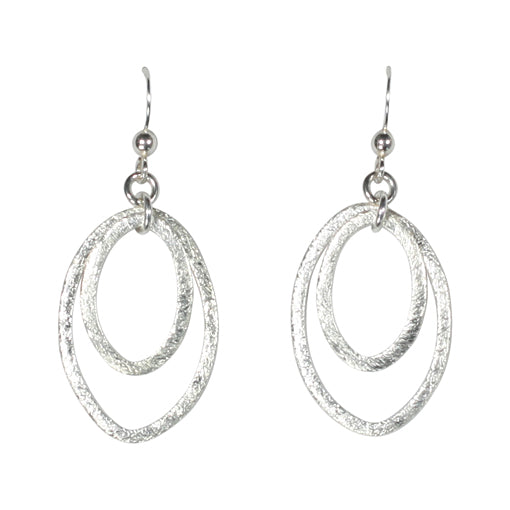 SALE - Brushed Double Marquise Earrings