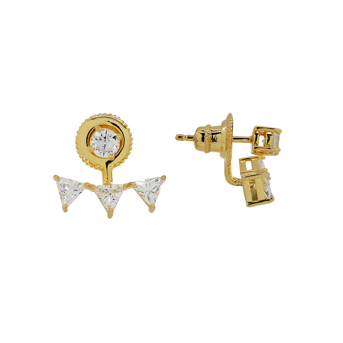CZ Triple Triangle Ear Jacket