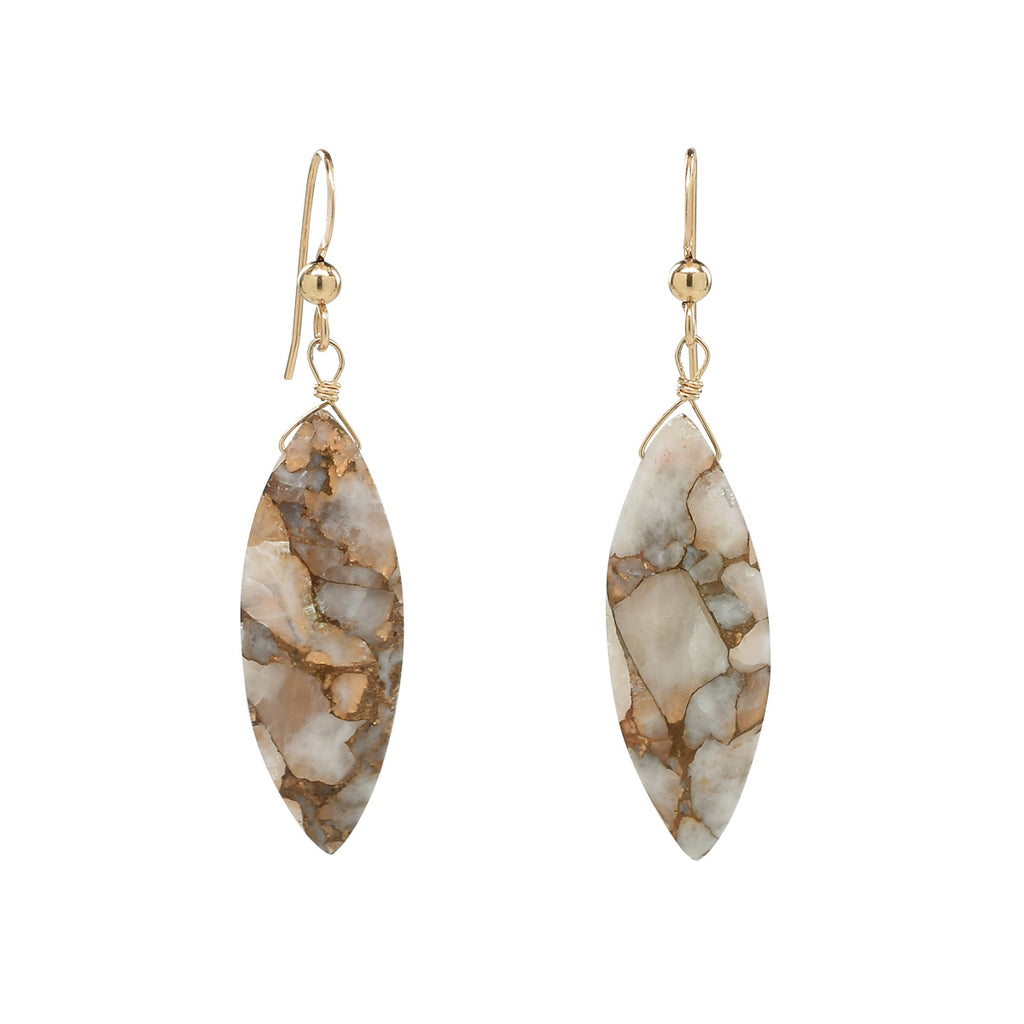 SALE - Copper Calcite Marquise Earrings