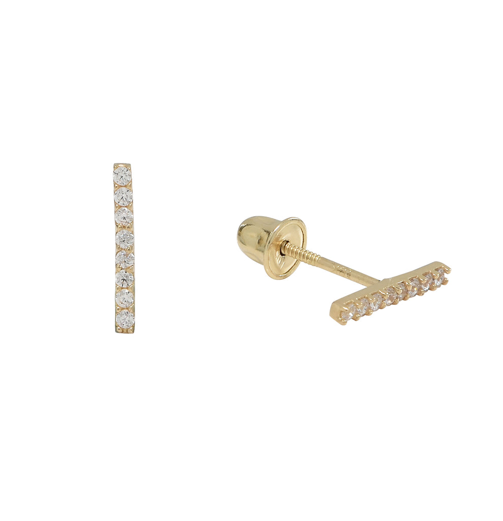 10k Solid Gold Thin CZ Bar Studs