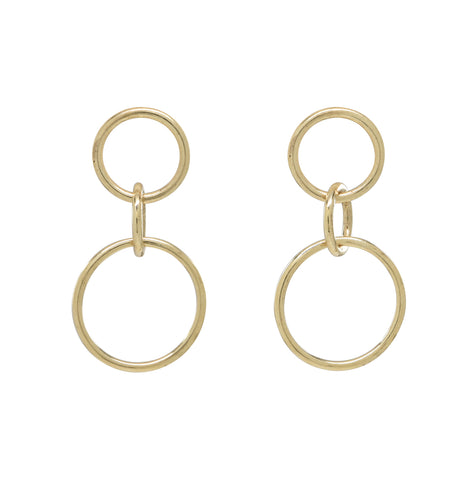 10k Solid Gold Triple Interlocking Circle Studs