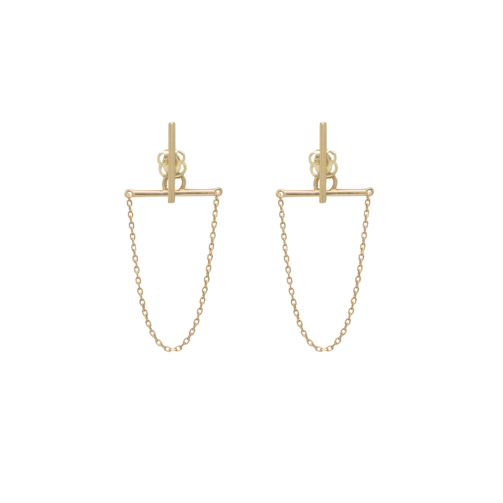 SALE - 10k Solid Gold Bar & Chain Dangle Studs