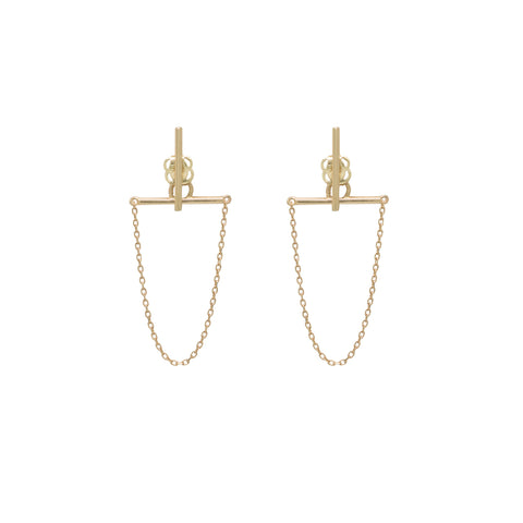 10k Solid Gold Bar & Chain Dangle Studs