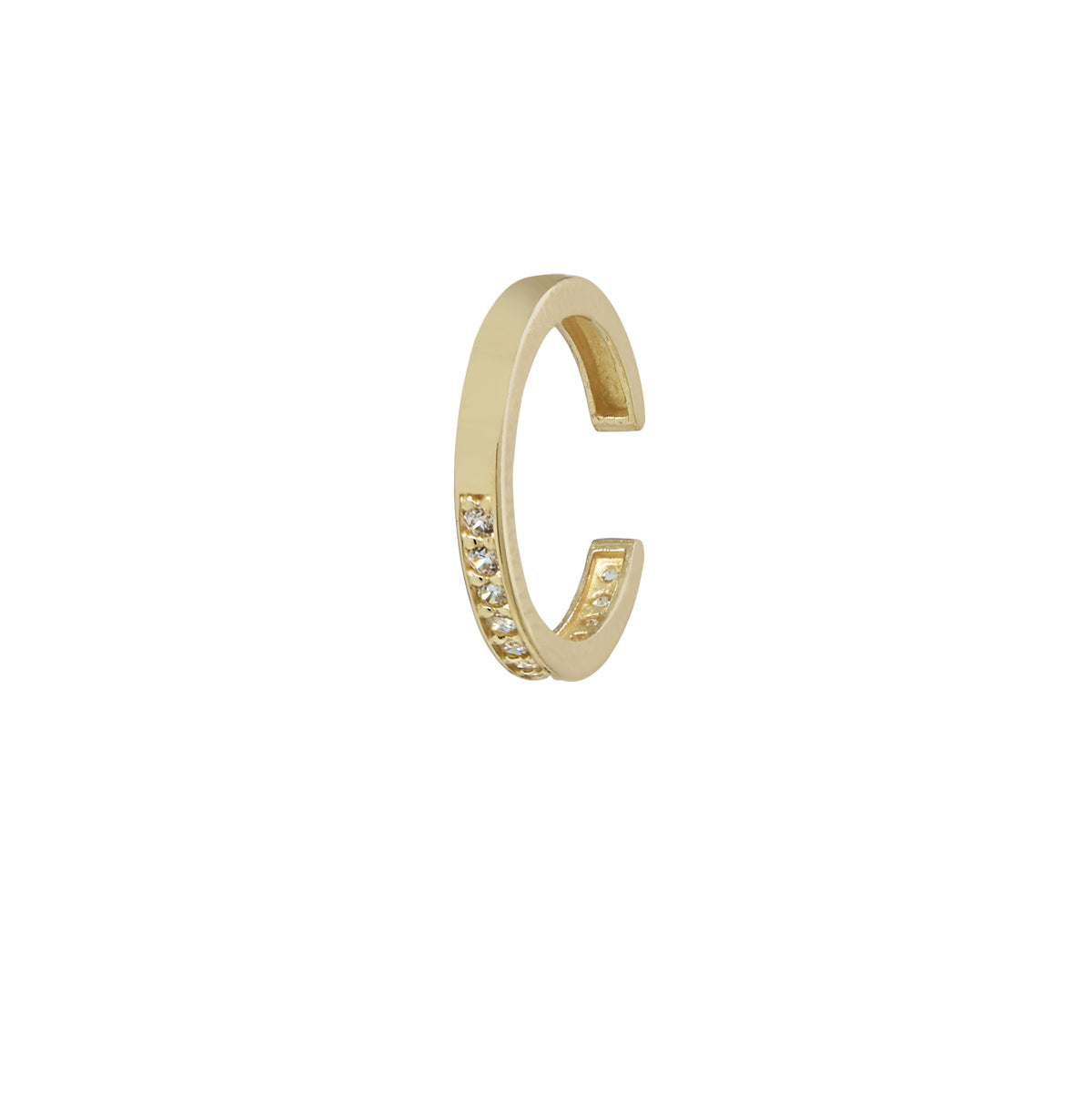 10k Solid Gold CZ Channel Middle Ear Cuff
