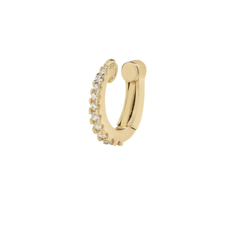 10k Solid Gold CZ Fishtail Snap Middle Ear Cuff