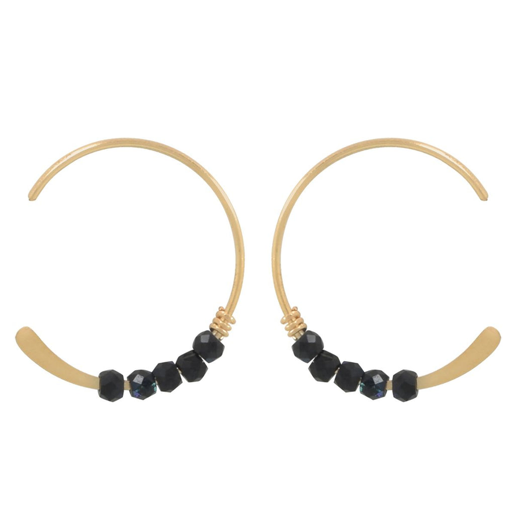 SALE - 18mm Metalic Black Stone Hammered End Hoops