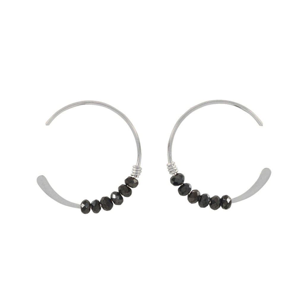 SALE - 18mm Black Onyx Stone Hammered End Hoops