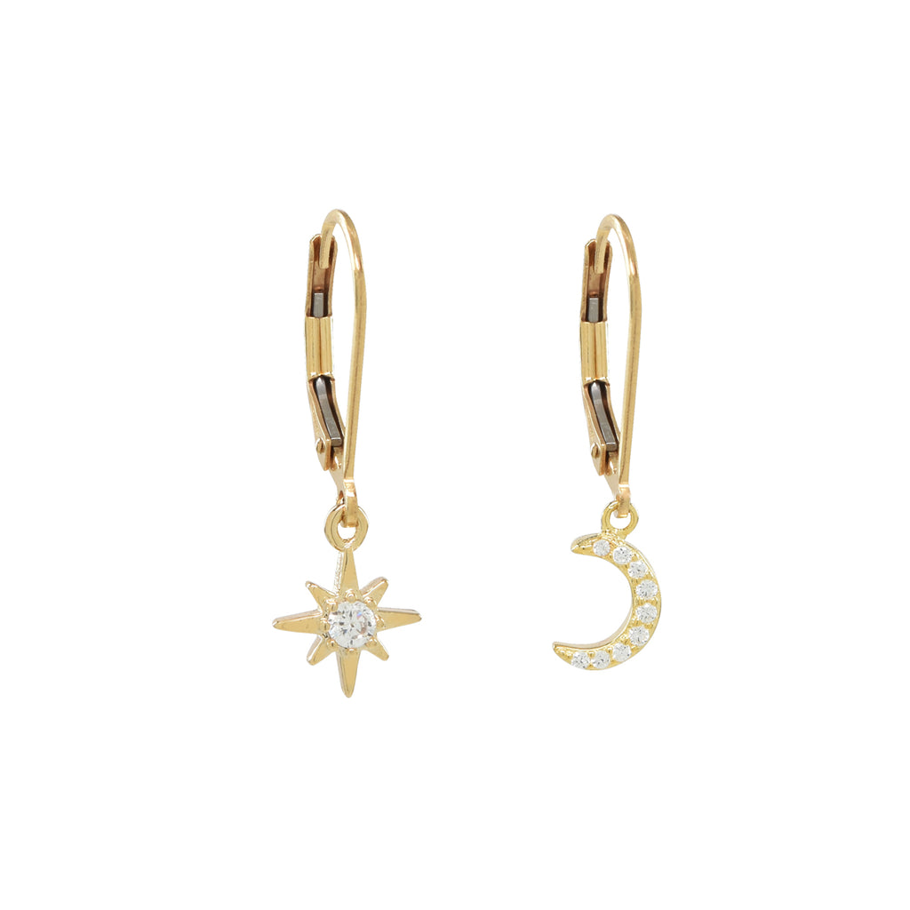 Lever Back Moon/Star CZ Earrings