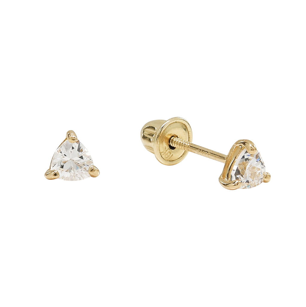 10k Solid Gold CZ Trillion Studs