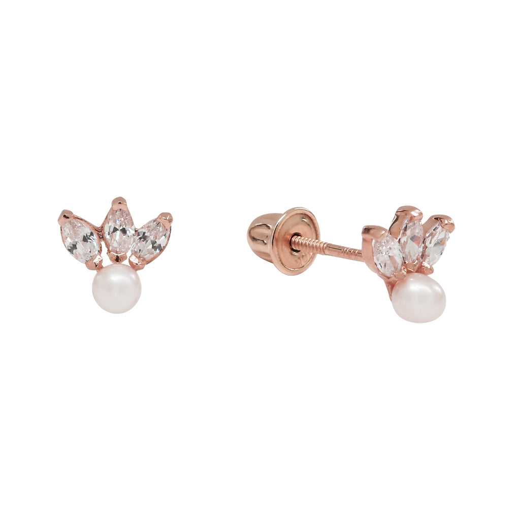 10k Solid Gold Triple CZ Marquise & Pearl Studs