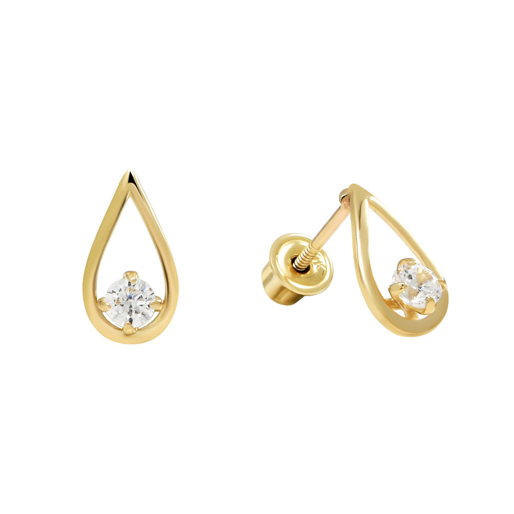 10k Solid Gold CZ Teardrop Studs