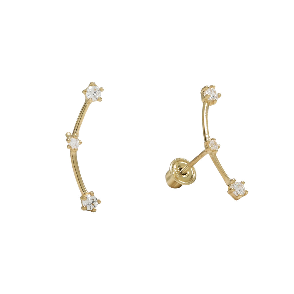 10k Solid Gold Triple CZ Constellation Studs
