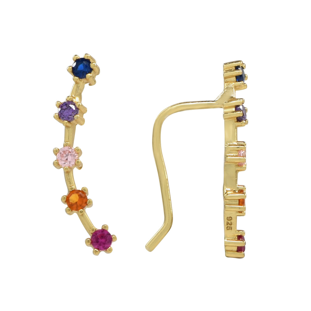 CZ Multi-Colored Prong Ear Crawlers