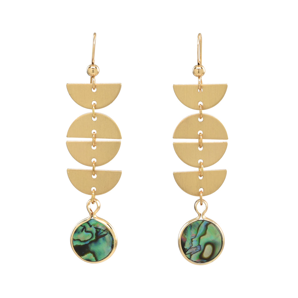 Half Moon Drop Abalone Stone Earrings