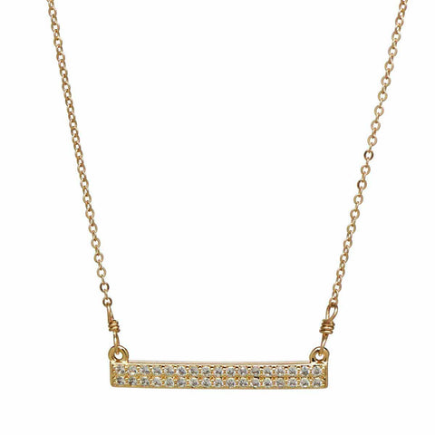 Double CZ Bar Necklace