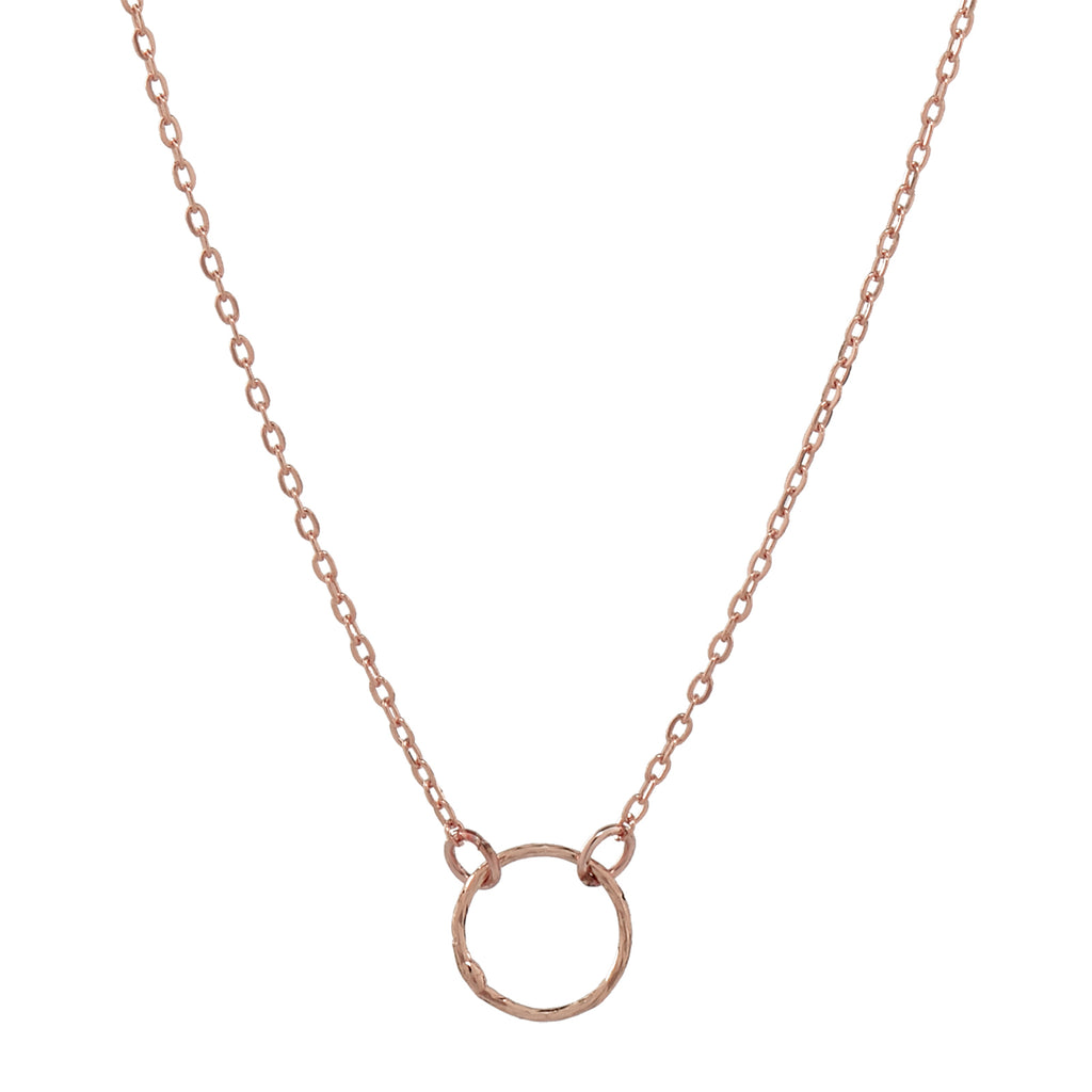 Tiny Diamond Cut Circle Necklace