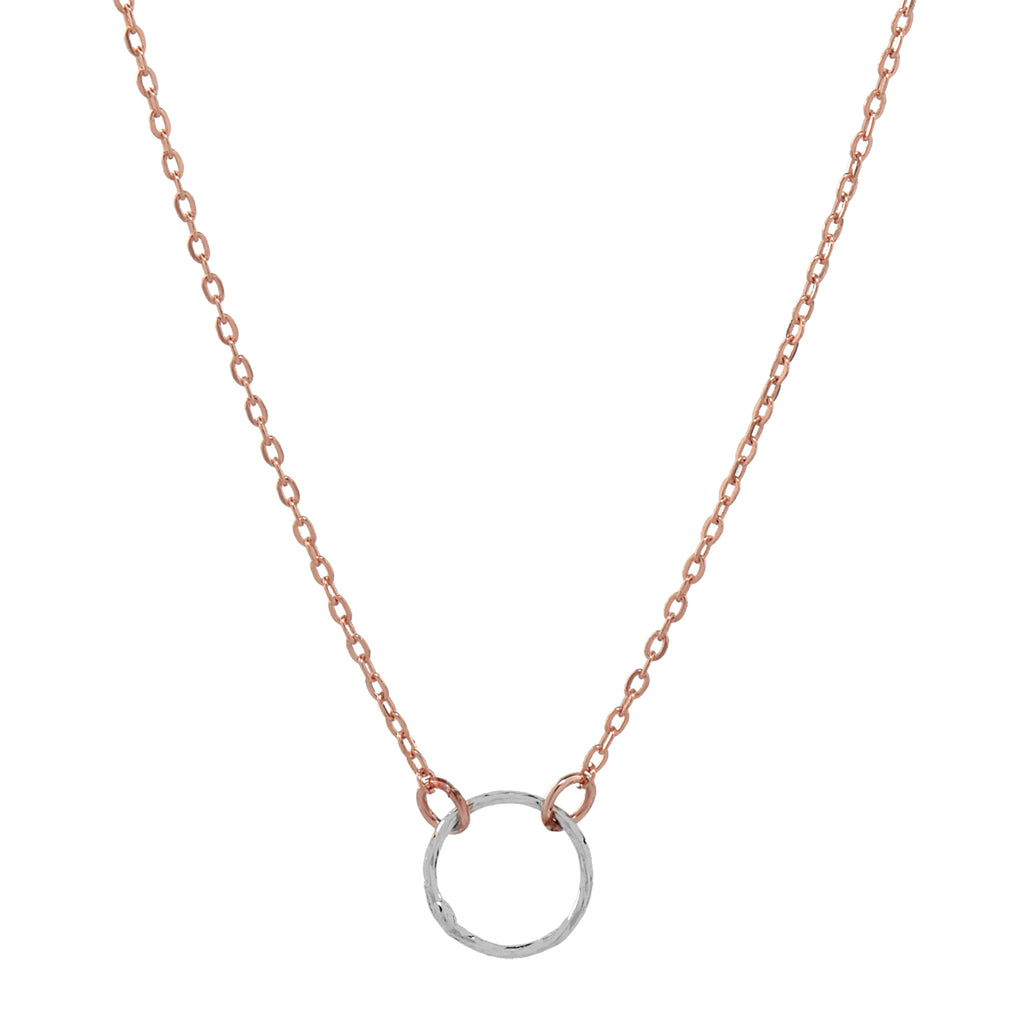 SALE - 2-Tone Tiny Diamond Cut Circle Necklace