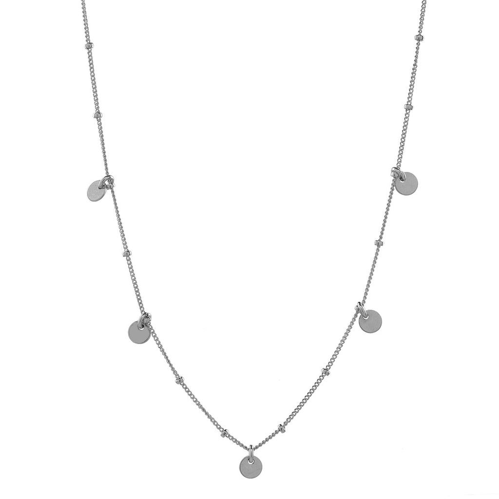 5 Tiny Discs Ball Chain Necklace