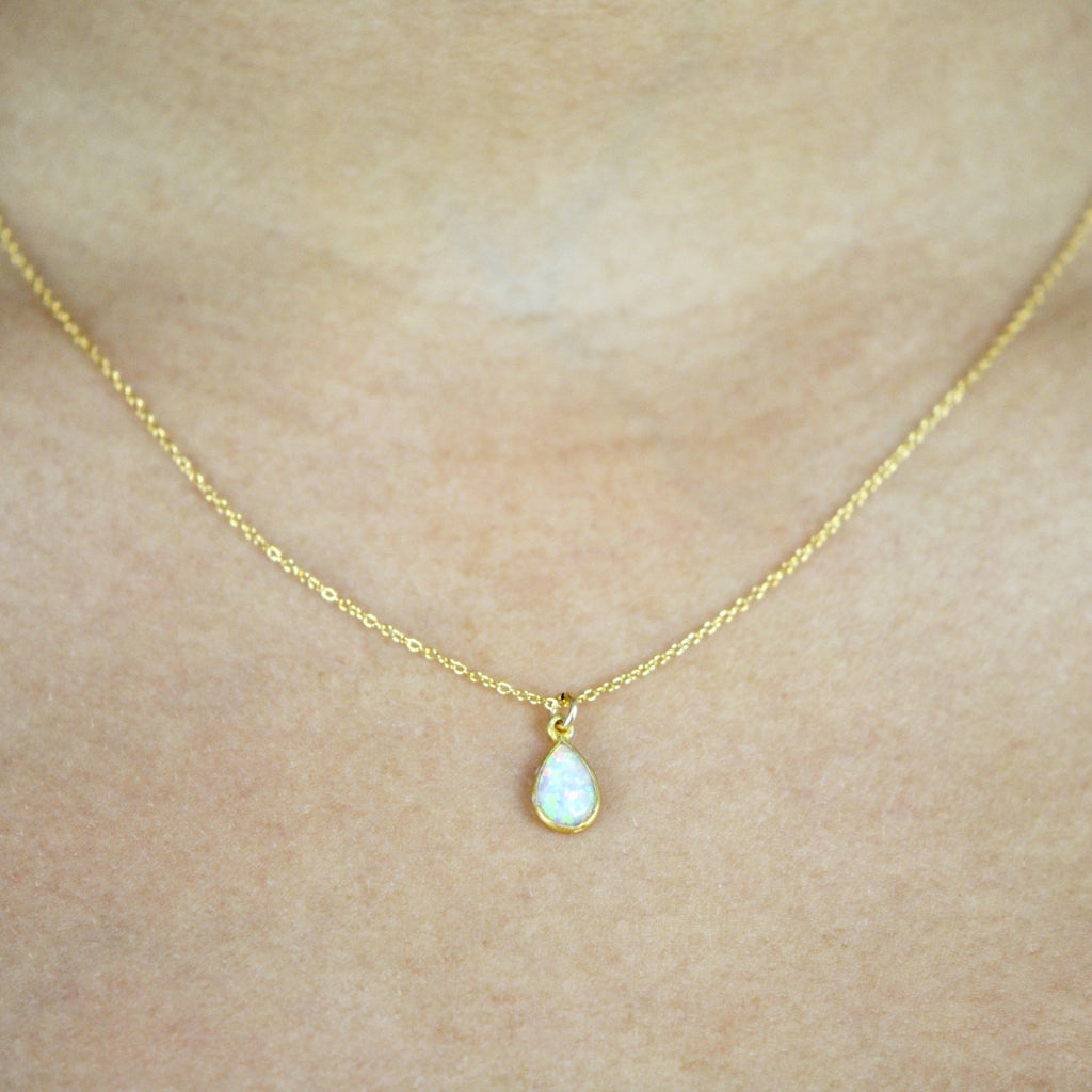 Tiny Elongated Teardrop Opal Necklace