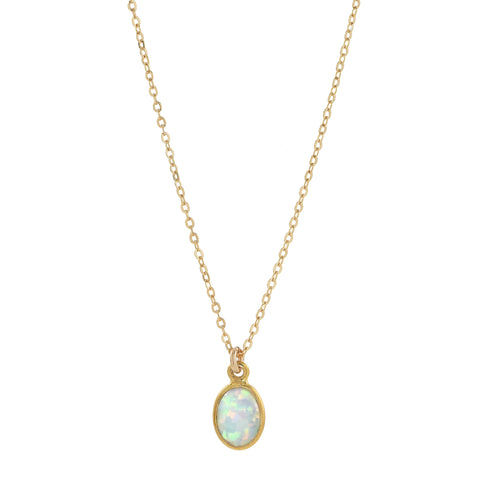 10k Round Prong Opal Necklace